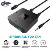 Último receptor transmisor Bluetooth V5.0 2 en 1 Adaptador de Audio inalámbrico de 3,5mm para auriculares de TV sistema estéreo del coche