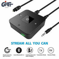Latest Bluetooth V5.0 Transmitter Receiver 2-in-1 3.5mm Wireless Audio Adapter for TV Headphones Speaker Home Car Stereo System