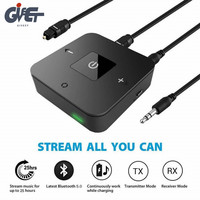 Latest Bluetooth V5.0 Transmitter Receiver 2 in 1 3.5mm Wireless Audio Adapter for TV Headphones Speaker Home Car Stereo System