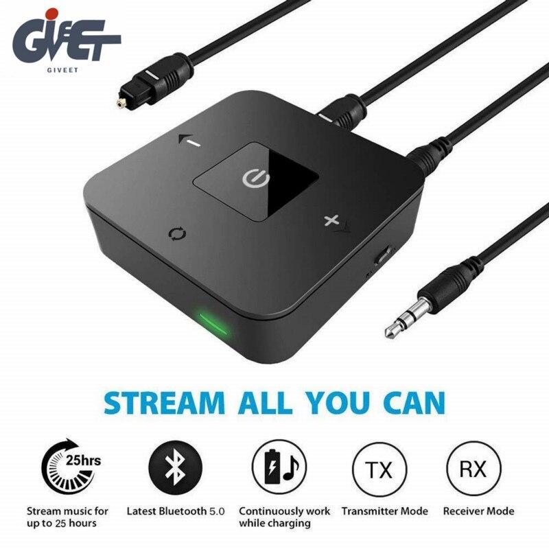 Mais recente bluetooth v5.0 transmissor receptor 2-em-1 3.5mm adaptador de áudio sem fio para tv fones de ouvido alto-falante casa sistema estéreo do carro