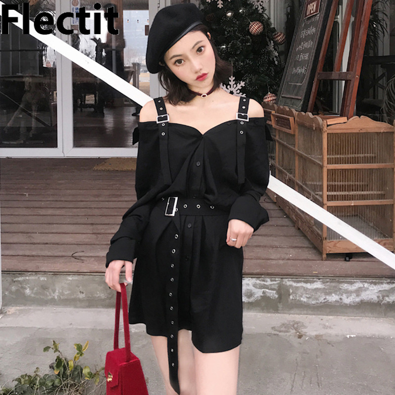 1deae2a2a5b42 Flectit Punk Rock Style Safety Pin A-Line Mini Skirt with Side Split High  Waisted Collins Skirt Women Harajuku Street Wear
