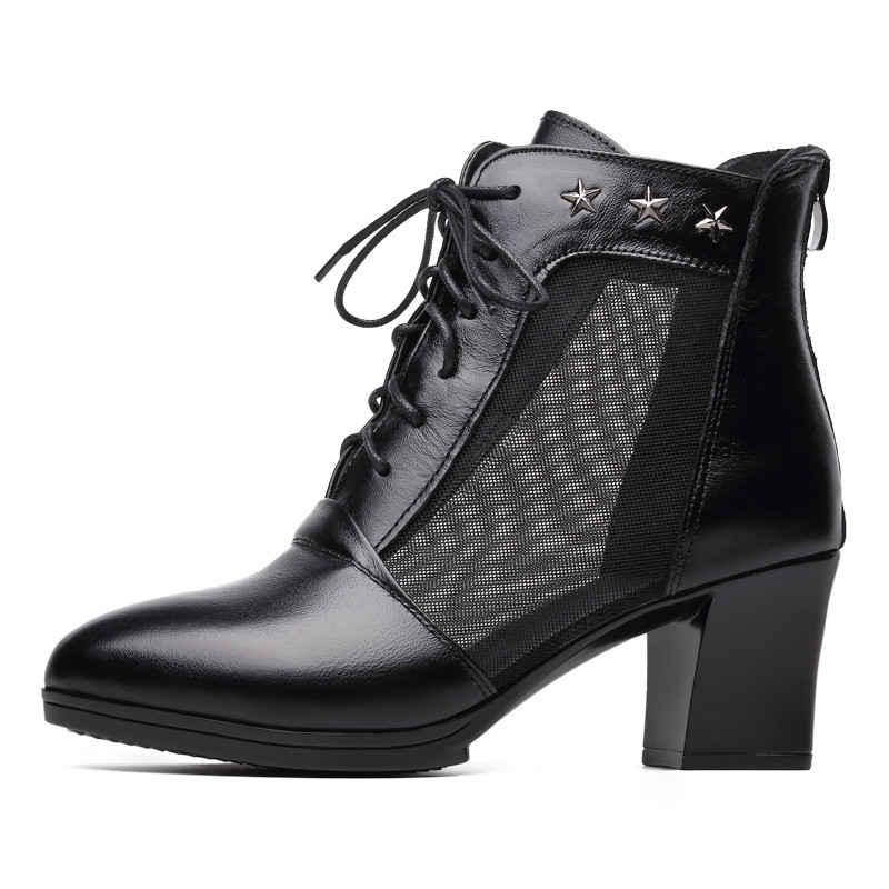 ФОТО Shoes Women  2017  Fashion Pumps  Diji Girls  High Pumps Leather Mesh Lace Up Mujer Shoes  Sexy High Heel Boots Women Designer