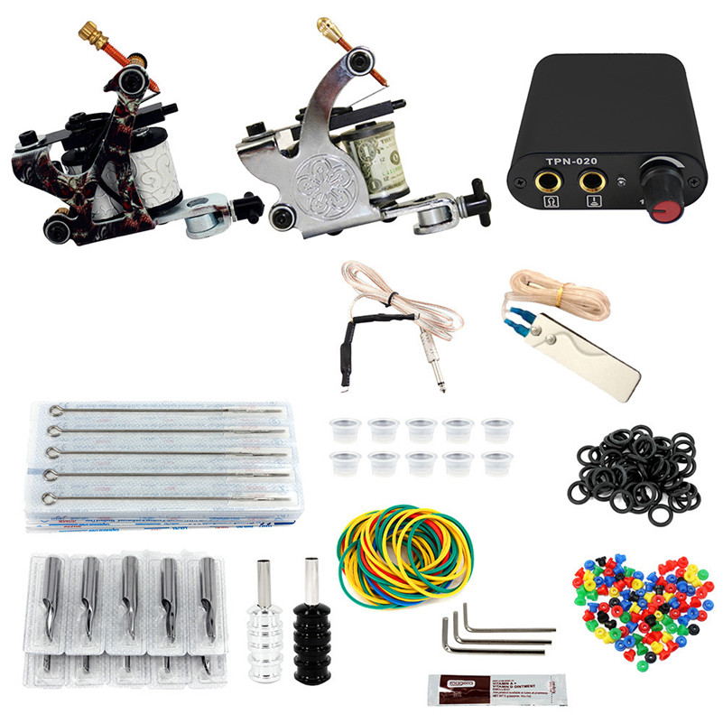 Professional Complete Tattoo Machine Kit Set 2 Coil Tattoo Machine Gun Power Supply  Needles Grips Tips For Tattoo Body Art complete tattoo kit 2 machines gun for starter power supply needles