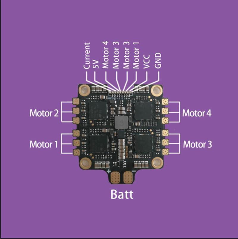 1 pc hakrc blheli 32 bit 50a 4 em 1 módulo esc 5 v/3a controle de velocidade eletrônico para rc zangão fpv aeronaves peças de reposição acesso - 2