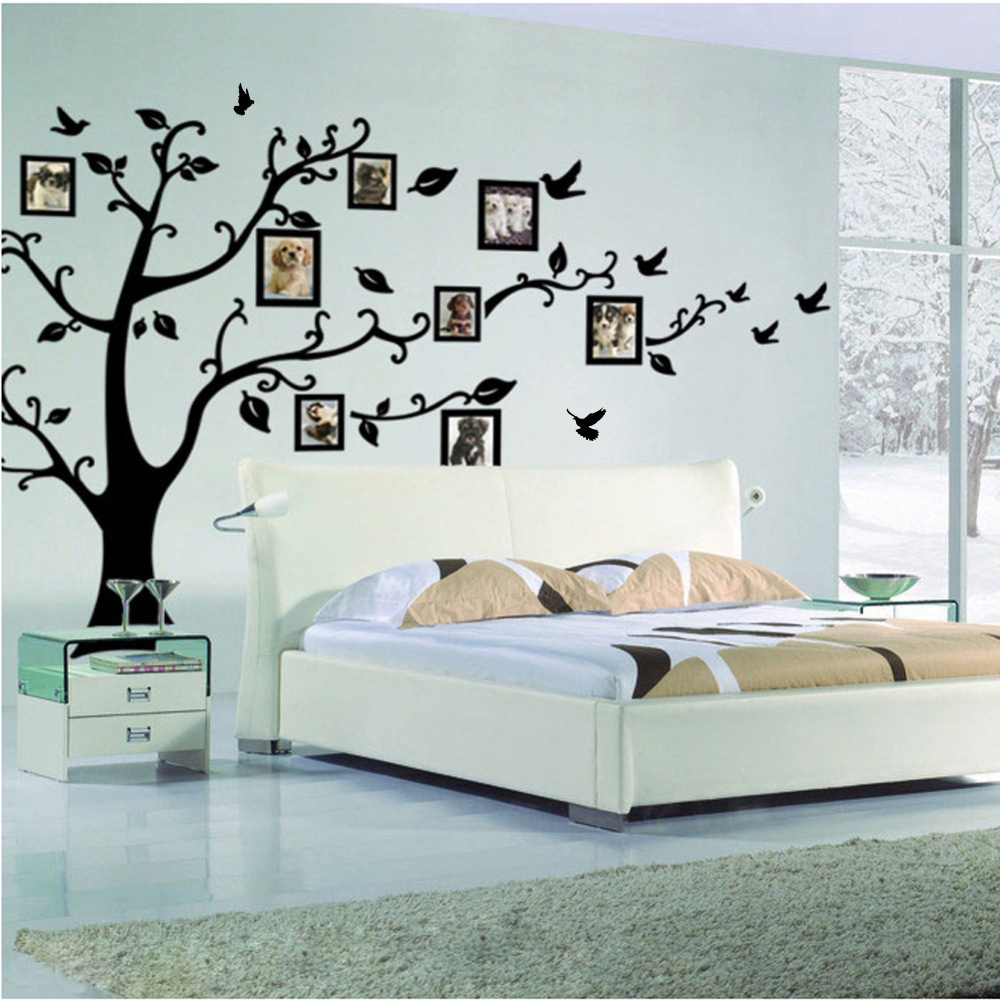 Big 200 * 250cm / 79 99in black 3d diy picture tree pvc wall stickers adhesive family art home decor home decor 3d butterfly diy wall stickers set
