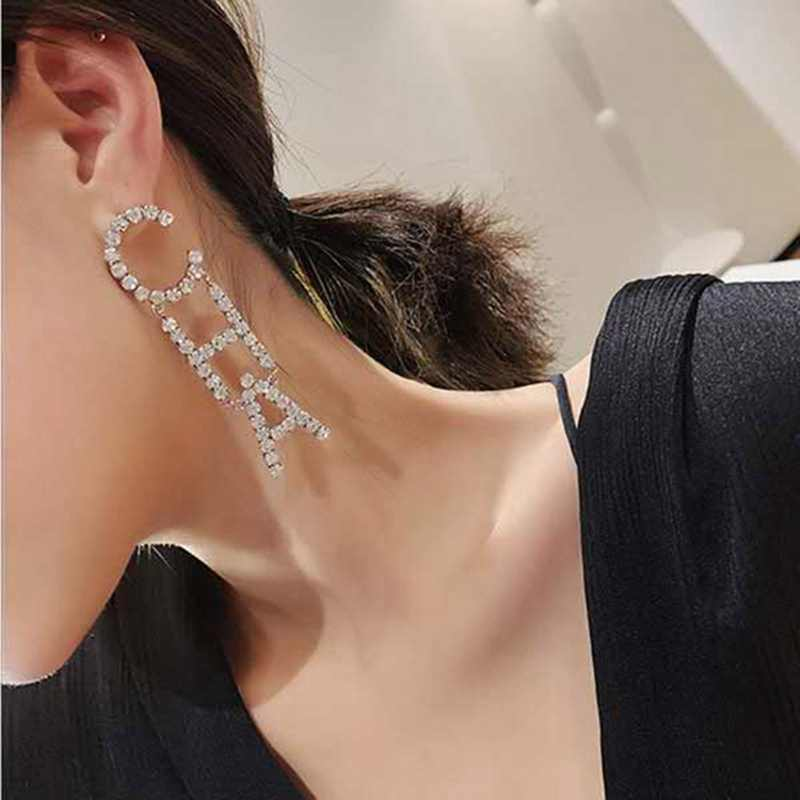 Full Crystal Rhinestone Letter CHA NGE Drop Dangle Earrings For Women Fashion Jewelry Trendy Statement Earrings Accessories