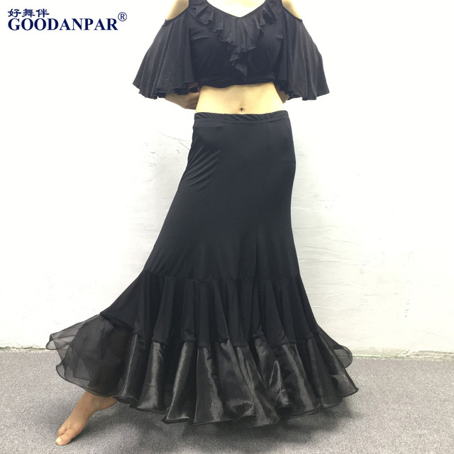 f5fc02e98185 Women Girls Ballroom Dance Skirt Long Swing Modern Standard Waltz  Competition Dance Dress Tango Skirts lycra black flamenc