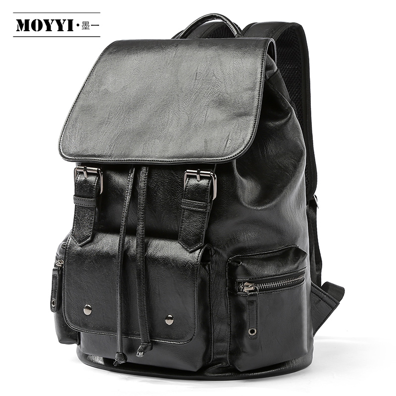 MOYYI Simple Patchwork Large Capacity Mens Leather Backpack For Travel Casual Mochila Men Daypacks Leather Travle Backpack