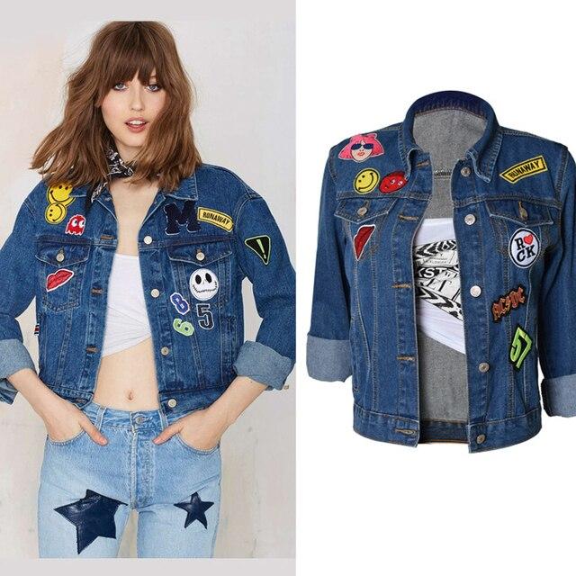 097c173e1e6 Olrain Plus Size Women Denim Coat Boyfriend Streetwear Loose Long Sleeve  Printing Denim Jacket Jean Coat