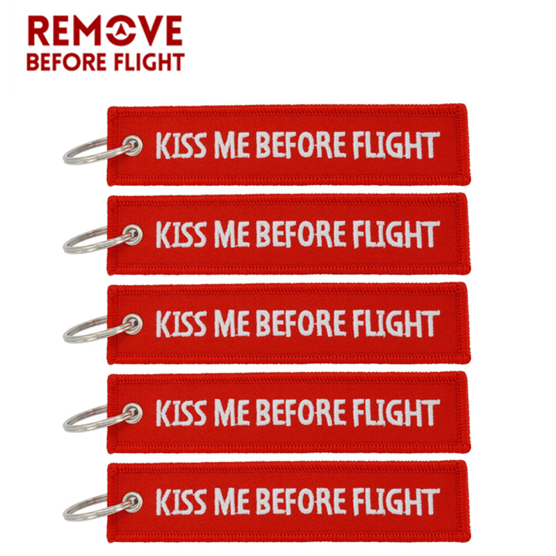 5PCS/LOT Kiss Me Before Flight Key Chain Label Red Embroidery Key Ring Luggage Tag chaveiro for Aviation Gift Keychain Women Man