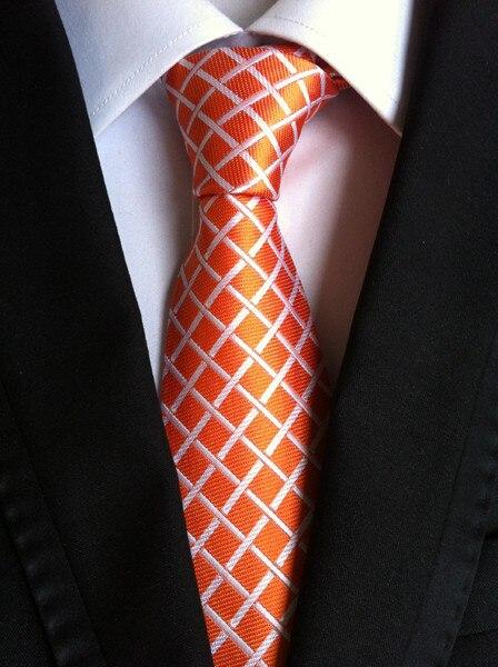 8 см уникальный формальный галстук оранжевый с белым модный клетчатый галстук для джентльменов