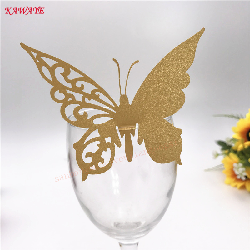 50pcs Laser Engraving Wedding Favor Butterfly Place Card Cup Card Name Card On Wine Glass Party Supplies Supply Decoration 5ZB52