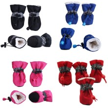 4 шт., водонепроницаемая плюшевая Обувь для собак, зимние Нескользящие сапоги для дождливой погоды, Толстая Теплая обувь для маленьких кошек, собак, щенков, носки, пинетки