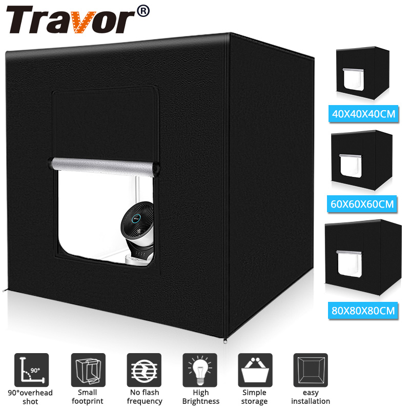 Travor Tent Background Softbox Led-Light Photo For Studio Portable 3-Colors 40 with 60-80cm