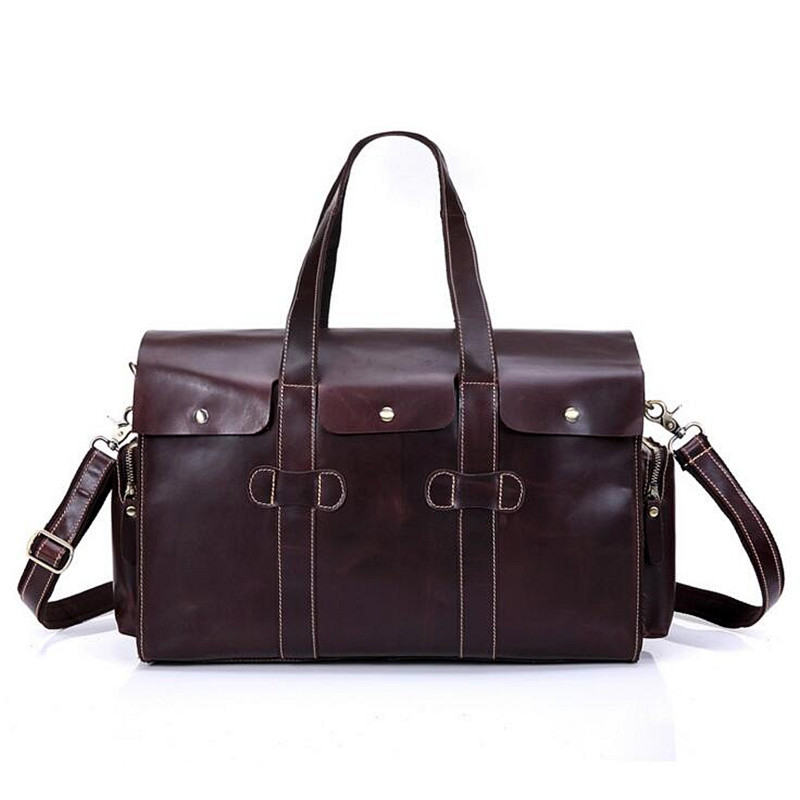 Genuine Leather Men Travel Bags Travel Luggage Man Fashion Totes Luggage Big Bag Male Crossbody Brown Business Shoulder Handbag
