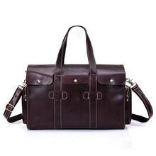 Genuine Leather Men Travel Bags Travel Luggage Man Fashion Totes Luggage Big Bag Male Crossbody Brown Business Shoulder Handbag