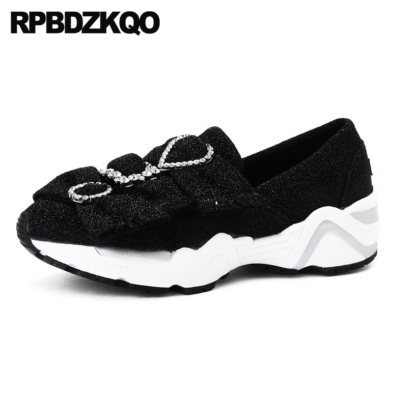 Black Platform Wedge Glitter Thick Sole High Quality Elevator Sneakers Rhinestone Women Creepers Shoes Crystal Diamond Trainers