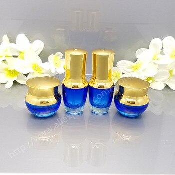 50pcs/Lot High-grade Cosmetics Jar With Gold Lid, Empty Creams Bottle Glass Bottle,Travel Bottle, 20 g,30 g,50 g Blue Glass Jar