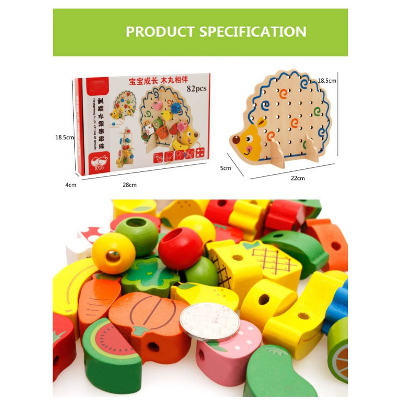 2018 Hot Childrens Toys Hedgehog Fruit Beaded Thread Childrens Educational Toys Baby Boy Girl Jigsaw Toys