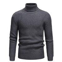 Men turtleneck stripes interlaced design big yards Men's jumper