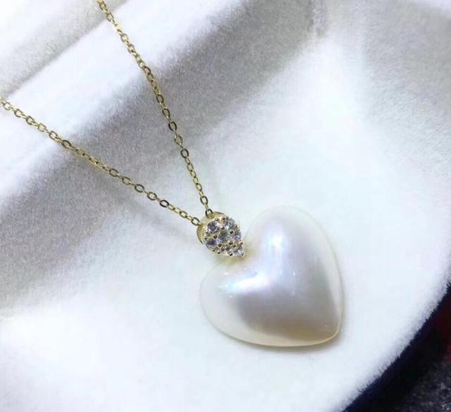 Free shipping natural 18x18mm maba pearl heart pendant necklace 18 k free shipping natural 18x18mm maba pearl heart pendant necklace 18 k solid gold aloadofball Image collections