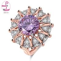 ZHE FAN AAA Luxus Lila Zirkonia Big Ring Rose Gold Farbe Überzogen Partei Schmuck Für Frauen Weihnachtsgeschenk Großhandel