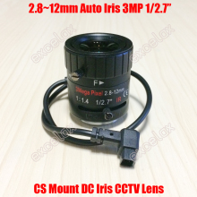"3MP 1/2.7"" 2.8 12mm F1.4 Manual Varifocal DC Auto Iris CCTV IR Lens CS Mount for 1080P 2MP 3 Megapixel HD Analog IP Box Camera"