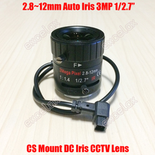 "3MP 1/2. 7 ""2.8 12mm f1.4 handmatige varifocale dc auto iris cctv ir lens cs Mount voor 1080 P 2MP 3 Megapixel HD Analoge IP Box Camera"