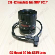 """3mp 1/2. 7 """"2.8 12mm f1.4 montagem manual da lente cs do cctv da íris automática da c.c. varifocal para a câmera analógica da caixa do ip de 1080 p 2mp 3 megapixels hd"""
