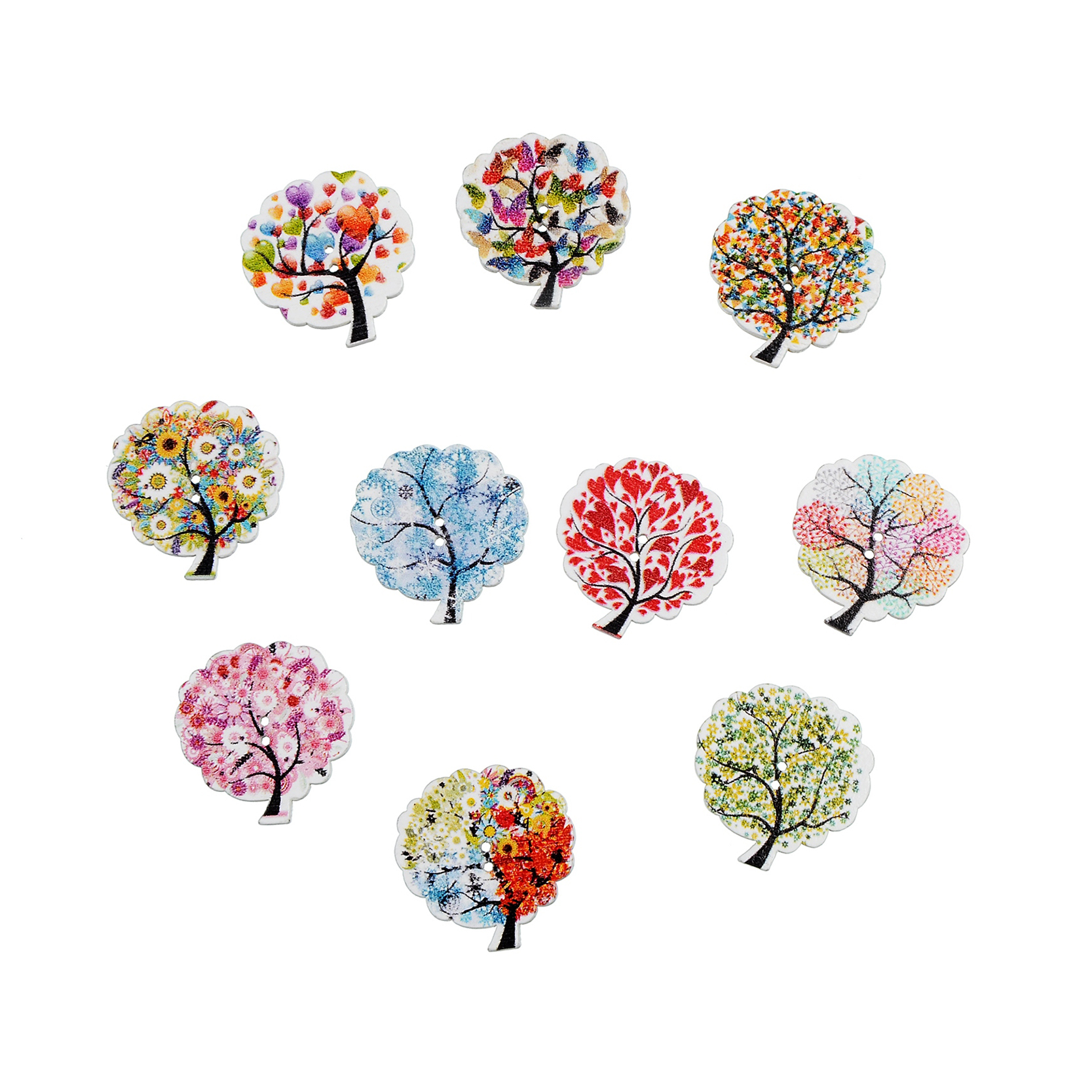 50Pcs New Tree Design 2 Holes Wooden Buttons Sewing Buttons Wood Craft Scrapbooking Clothing Accessories DIY in Buttons from Home Garden