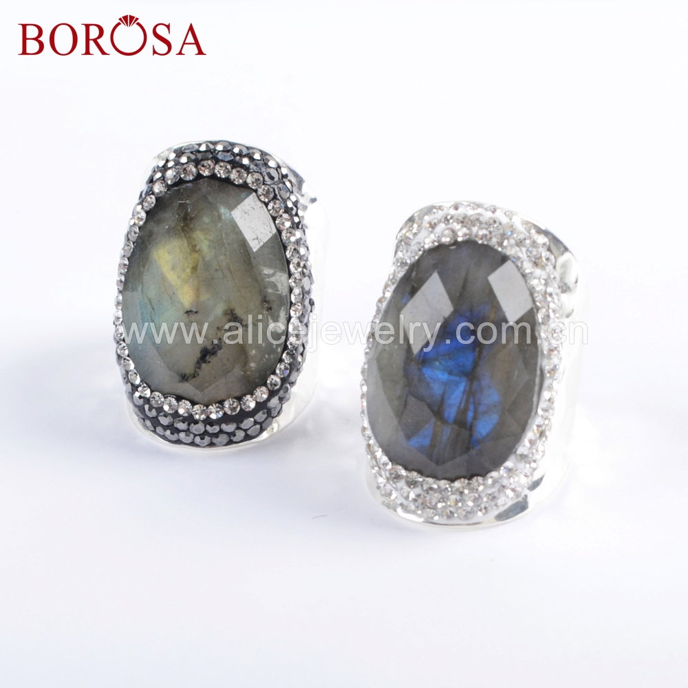 BOROSA Jewelry 6PCS Silver Color Natural Labradorite Faceted Stone Druzy Ring Crystal Paved Black/White Zircons Rings JAB945