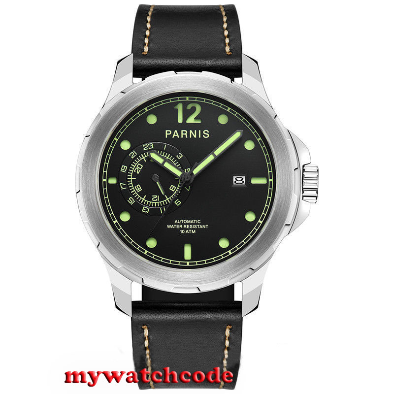 44mm Parnis black sandwich dial date Sapphire Glass miyato Automatic mens Watch цена и фото