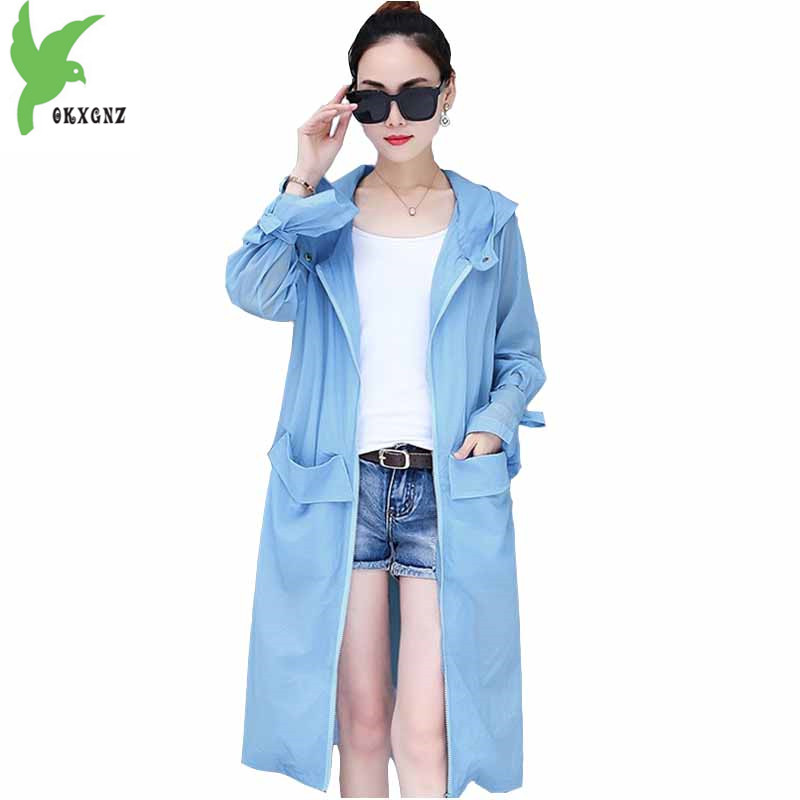 Thin   trench   coat for women 2018 summer Sun protection clothing Plus size Hooded top Long sleeve Anti-UV female coats OKXGNZ 1856