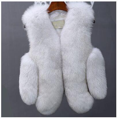 Новинка, зимние толстые теплые меховые жилеты, пальто для женщин, искусственный Лисий мех, жилет, короткие пальто, высокое качество, жилет, Женская куртка, верхняя одежда - Цвет: fox  color