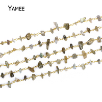 Wholesale 5 Meters Fashion Irregular Labradorite Beaded Chains 0.6mm Pure Copper Wire Wrapped Chain For Women DIY Chain Jewelry
