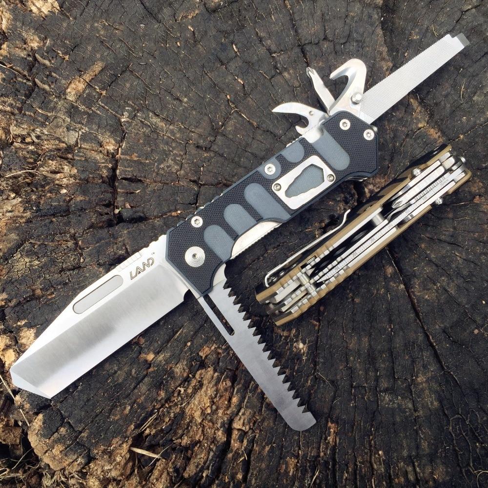 Земля 9047 складной многофункциональный нож выживания Отдых Открытый складной охотничий пила нож 12Cr27MoV нержавеющая сталь