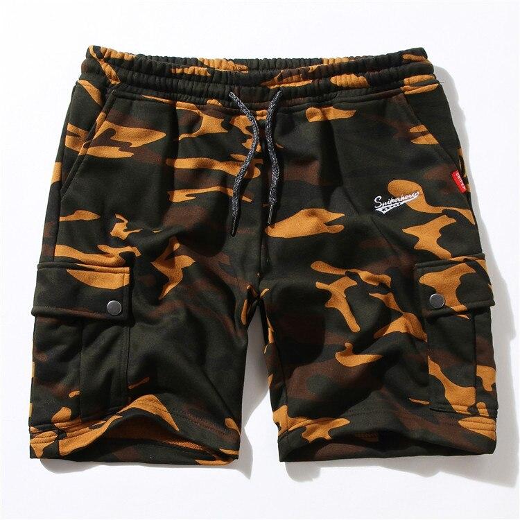 Streetwear Camo Shorts Men Hip Hop Multi Pockets Short 2018 Summer Elastic Waist Cargo Short Sweatpants Men Clothes