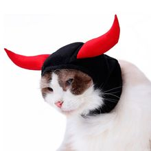 Halloween Pet Dog Hat Costume Head Cover Horn Cat Kitten Funny Cosplay Party Outfit Decoration