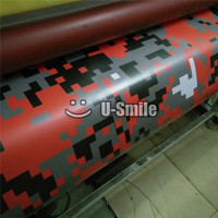 Rode Digitale Camouflage Vinyl Wrap Red Pixel Camo Auto Wrap Decal luchtbel Gratis Grootte: 1.52x30 m/Roll