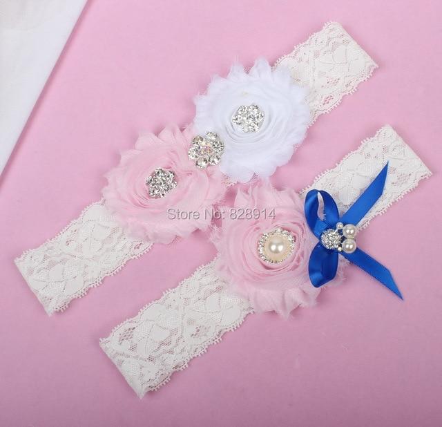 661028720 Nuevo diseño azul y blanco color shabby Flower Encaje boda novia para la  liga de novia