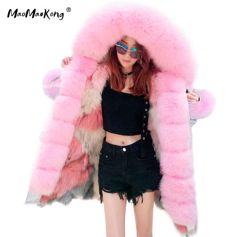 Kadın Giyim'ten Gerçek Kürk'de MAO MAO KONG marka uzun Kamuflaj kış ceket kadın dış giyim kalın parkas doğal gerçek tilki kürk yaka ceket kapşonlu pelliccia'da  Grup 1