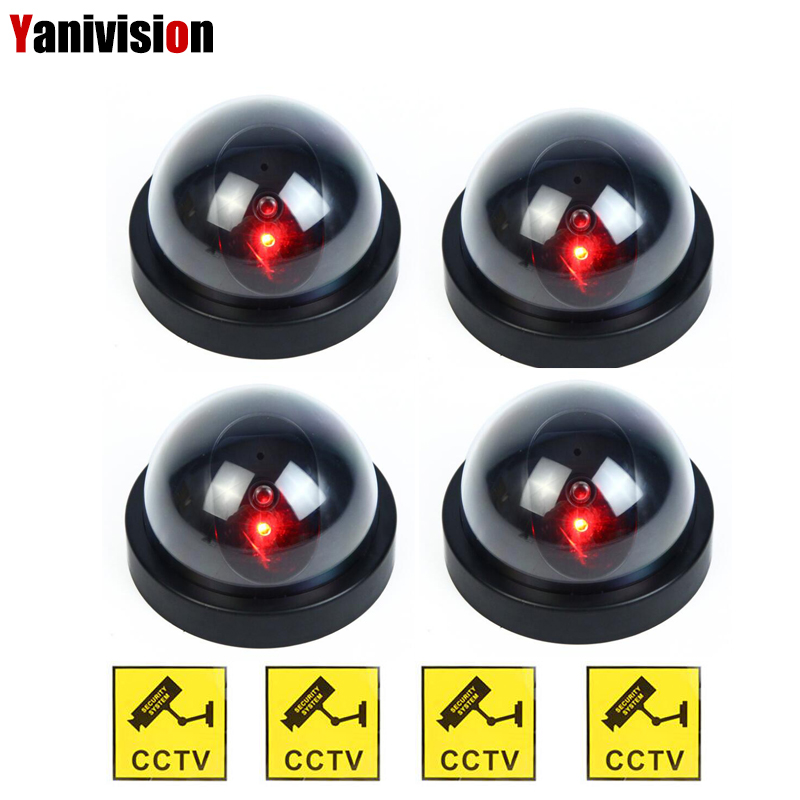 4pcs Outdoor Indoor Fake Dummy Camera Surveillance Simulated Camera Dome CCTV Security With Flashing Led Light outdoor fake camera indoor fake surveillance camera dome cctv security camera with flashing red led light for home and office