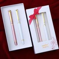 Einfache Mode Gold Clip Kugelschreiber mit Geschenk-box Gewinnen 596 High-end Weiß und Rose Gold Business Geschenk Stifte für frauen