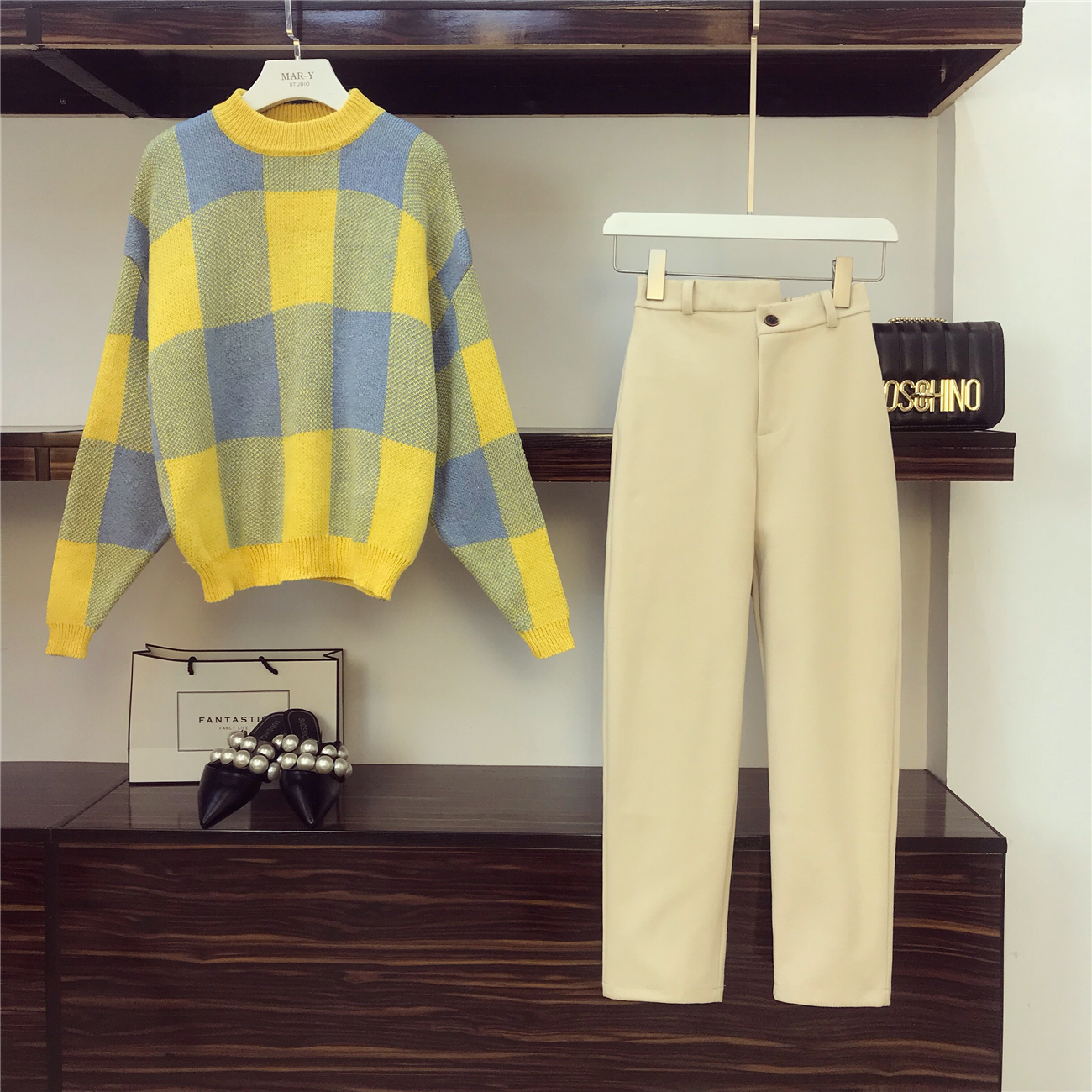 2018 New Fashion Autumn Women's Long Sleeve Loose Sweater + Woolen Haren Pants Two Pieces Students Leisure Pants Sets 8