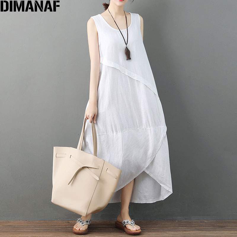 1c6eacb6d1 Detail Feedback Questions about DIMANAF Women Plus Size Summer Dress  Sleeveless Bud Sundress Linen Female Elegnat Sashes Vestidos Casual 2018  New Solid ...