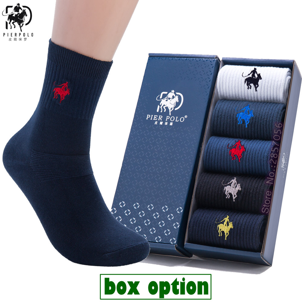 (5 Pairs, Gift Box) 2017 New Fashion Brand Men Socks Combed Cotton Dress Socks Business Men Socks Fine Male Socks, Size EU 38-43