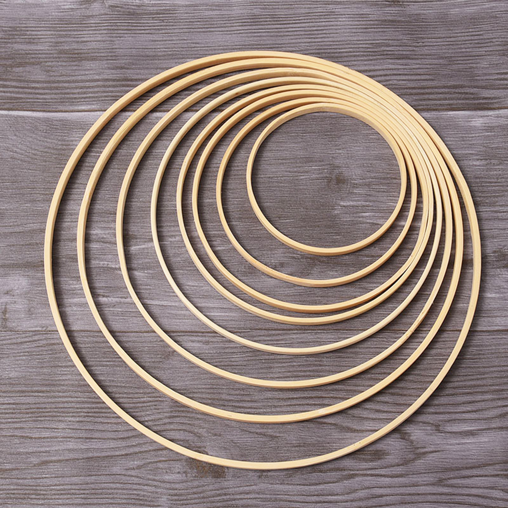 10pcs 20cm Diameter Dream Catcher Ring Round Wooden Bamboo Hoop DIY Craft Tools For Fabric Ribbon Lace