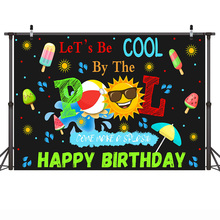 Birthday Party Banner Background Summer Holiday Pool Backdrops for Photo Studio Celebration Props Children