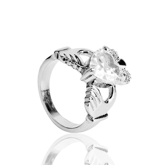 HANCHANG Love Heart Design Crown Hand Heart Clah-Duh Claddagh Rings For Women Christmas Gift Anel Fashion Jewelry Bague Gift 1