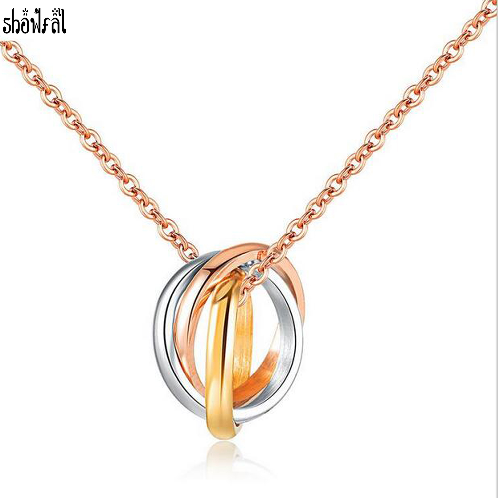 Bulgaria Clavicle Chain Three Circle Necklace Stainless Steel Circles Pendant Rose Gold Necklace For Women Fashion Jewelry